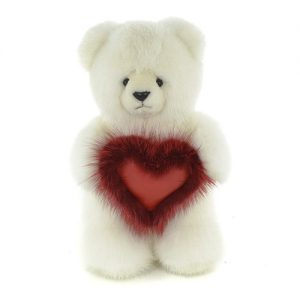 Дизайнерские игрушки из меха медведь белый с сердечком