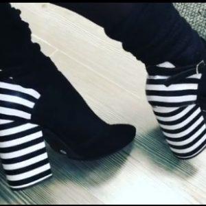 Женские туфли каблук полоска