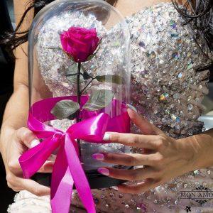 Роза в колбе Princess Rose розовая