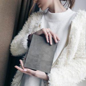 Ежедневник замшевый серый