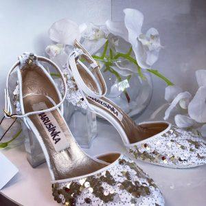 Женские туфли с пайетками бело-розовые
