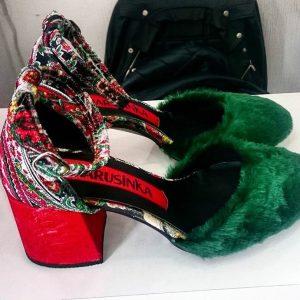 Дизайнерские туфли женские с мехом