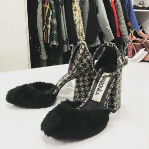 Женские туфли твидовый каблук