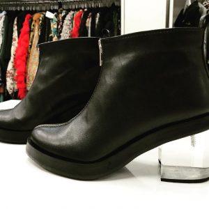 Женские ботинки эко-кожа прозрачный каблук