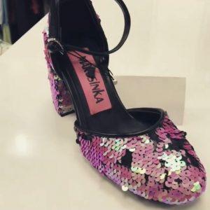 Женские туфли с пайетками розовые