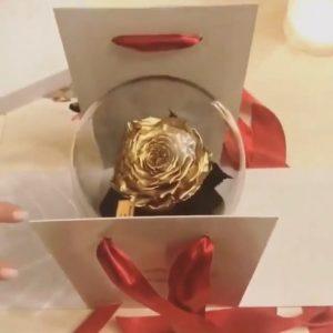Роза в колбе Gold King