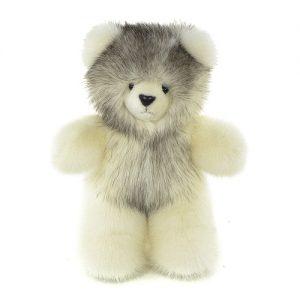Дизайнерские игрушки из меха медведь белый с серым