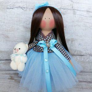 Дизайнерская кукла ручной работы в голубом