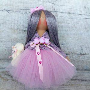 Дизайнерская кукла ручной работы в нежно розовом