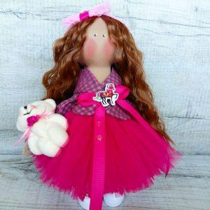 Дизайнерская кукла ручной работы в розовом