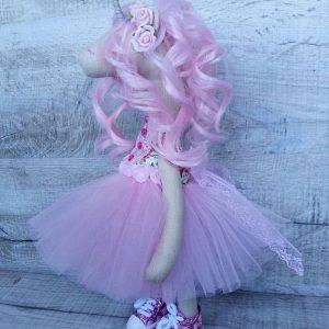 Дизайнерская кукла ручной работы розовый единорог