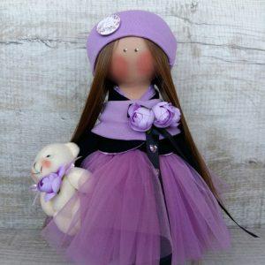 Дизайнерская кукла ручной работы в сиреневой шапочке
