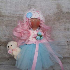 Дизайнерская кукла ручной работы с розовыми волосами