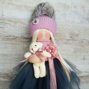 Дизайнерская кукла ручной работы в синем