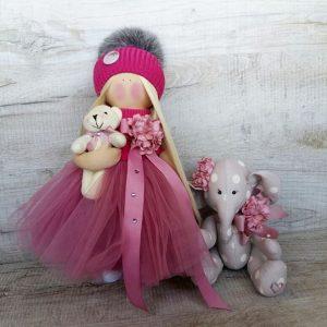 Дизайнерская кукла ручной работы с мишкой