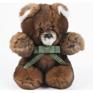 Дизайнерские игрушки из меха медведь коричневый с шарфиком