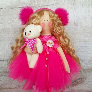 Дизайнерская кукла ручной работы с меховыми наушниками