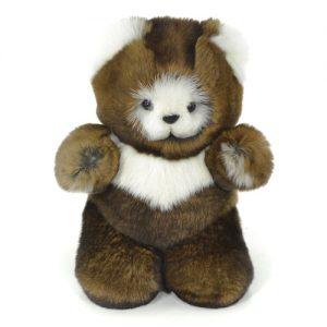 Дизайнерские игрушки из меха мишка коричневый белые вставки