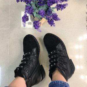 D$ Женские ботинки шипы замш+кожа