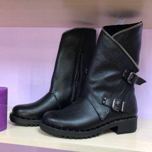 D$ Черные кожаные женские ботинки Casual с молнией