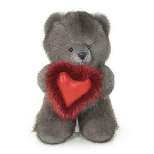Дизайнерские игрушки из меха мишка темно-серый с сердечком