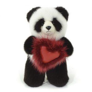 Дизайнерские игрушки из меха медведь панда с сердечком