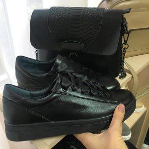 VN Черные кроссовки кожаные женские