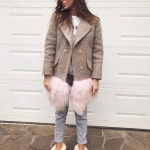 VN Женское нюдовое пальто коричневое с мехом