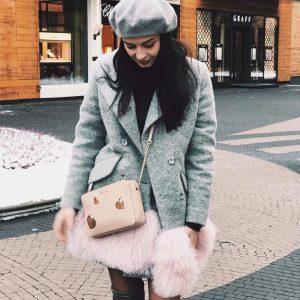VN Шерстяное пальто женское серое с розовым мехом альпаки