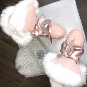 VN Розовые угги женские шнурки-ленты