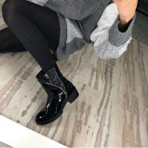 D$ Женские ботинки лаковые черные на молнии