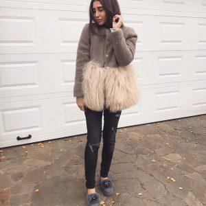 VN Нюдовое пальто коричневое мех альпаки беж