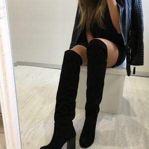 VN Замшевые ботфорты черные на толстом каблуке