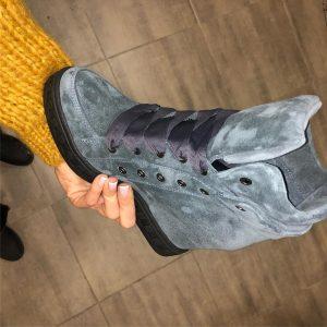 VN Замшевые серые сникерсы с широкими шнурками