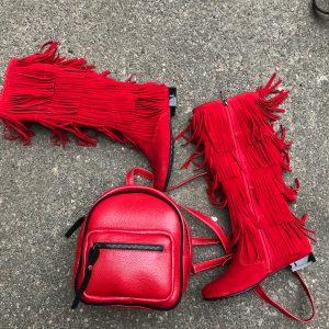 D$ Сапоги женские красные замш+бахрома
