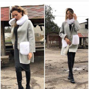 D$ Женское пальто серое мех+шерсть альпаки