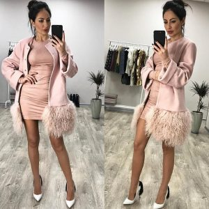 VN Нюдовое пальто с мехом ламы розовое
