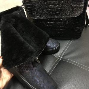 VN Кожаные черные ботинки питон+мех