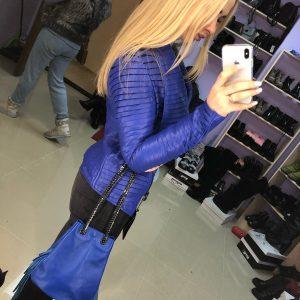 D$ Куртка женская синяя кожа