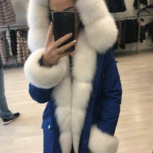 D$ Парка женская синяя мех песец белый