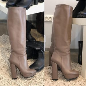 VN Женские кожаные сапоги толстый каблук