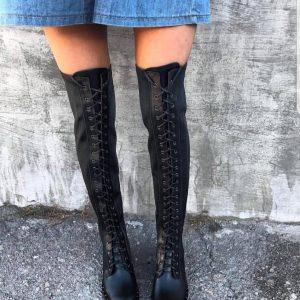 D$ Ботфорты черные женские кожа на шнуровке