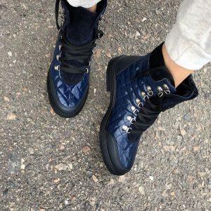 D$ Ботинки синие женские лак на шнурках