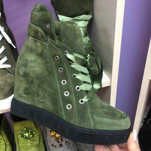 D$ Сникерсы замшевые женские зеленый/синий/коричневый