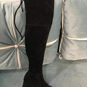 D$ Ботфорты замш женские черные на шнурке