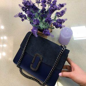 D$ Женская сумка кожа+замш на цепи