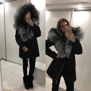 VN Парка черная женская серый мех овчина