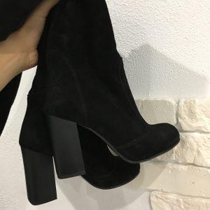 VN Замшевые черные ботфорты на толстом каблуке кожа