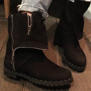 VN Ботинки замшевые коричневые женские на молнии