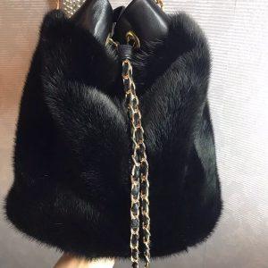 D$ Женская сумка черная на цепи кожа+мех